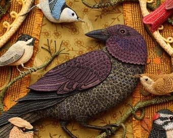 4 card set - Birds of Beebe Woods - Crow, wren, chickadee, nuthatch