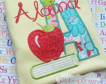 Back to School - Book & Apple Customized Tee Shirt - Customizable