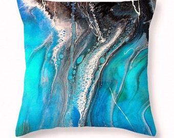 Abstract Art Accent Home Decor, Decorative pillow, Seascape, Boho Pillow Cover, Original Resin Painting Printed zippered pillowcase