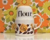Vintage Crown Devon Flour Shaker Yellow Roses Floral Retro Campervan