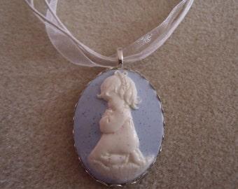 Praying Girl Resin Pendant Necklace ( Last one )