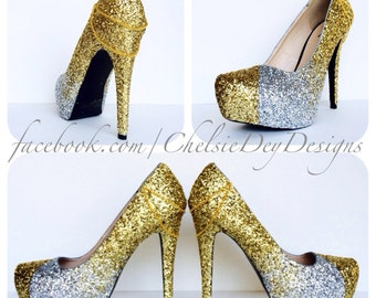 Silver and Gold Ombre Fade Glitter Pump High Heels with Gold Chains