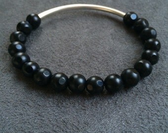 Black Cut Glass Bracelet with Silver Accent