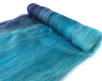 Spinning batts - Gradient - Blue Merino wool - Firestar - silk -  RIVER