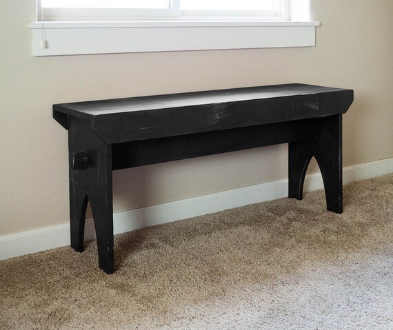 """Farmhouse Bench - Black distressed bench, shabby country painted bench 36"""" x 19"""" x 11"""""""