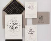 Wedding Invitations, Floral Wedding Invitation, Black and Gold, Roses, Modern, Urban Chic Wedding Invitation - Olivia Sample