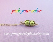 Two peas in a pod necklace - Choose your color! Made to order