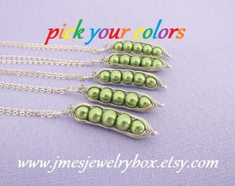 Five peas in a pod necklace set - Choose your colors! Made to order
