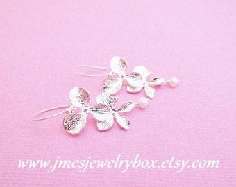 Silver orchid earrings - Silver flower earrings - Cascading orchid earrings - Orchid and pearl earrings - Bridesmaids earrings