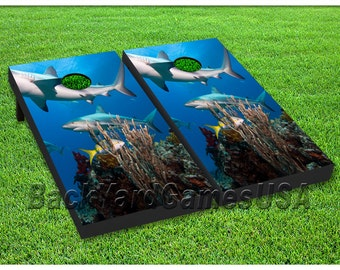 Custom Cornhole Boards with bags Sharks Swimming Cornhole Boards Sharks Ocean Game Set 031