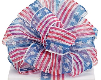 USA Flag Ribbon WIRED 2&1/2 Sheer ribbon blue diagonal stripes white stars red glitter diagonal stripes  Wreaths, Party, Gifts, 4th of July