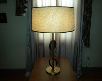 Very Cool ATOMIC Table #LAMP by REMBRANDT brass with black steel rings mid century modern 1950s