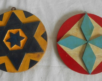 Vintage Wooden Geometric Design Folk Art