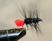 Fly Fisherman - Made in Michigan Fly - Hand-tied - Black with Red - Fly Fishing Flies - Classic Fishing Flies - Number 10 Hook