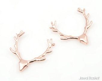 MARKDOWN - Deer Pendant in Matte Rose Gold - 2pcs Antler Pendants / 22mm x 22mm / BMRG165-P