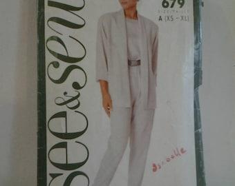 See&Sew 5981679 Misses Jacket Top and Pants Vintage Sewing Pattern