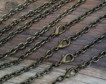 50Pcs Of  45cm   4mmx5mm Bronze Oval Necklace Chain For Jewelry making