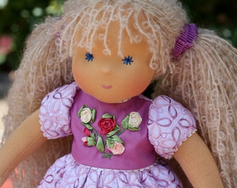 "Waldorf dollclassic   - ""curly Rozochka"" -15 inches, custom dolls for children from 5 years old, daughter of a gift"