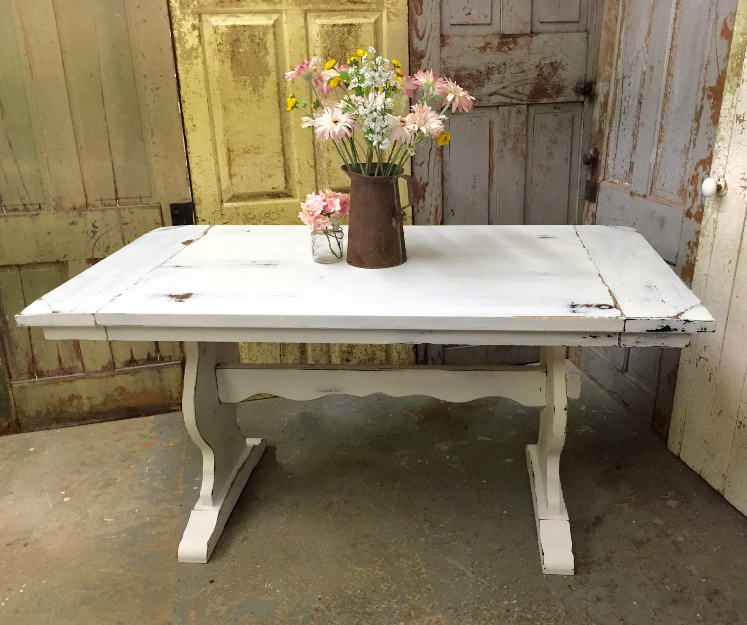 white kitchen table rustic dining room table painted