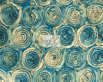 "2 Two-Tone Spiral Rosette Taffeta Fabric - BLUE - Sold By The Yard 54"" Width"