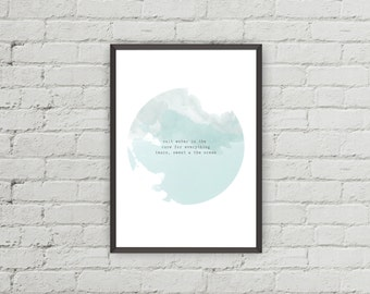 Instant Download Printable Quote 8x10. Salt water is the cure for everything, watercolour, blue