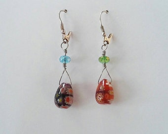 Millefiori egg drop earrings, wire wrapped with a crystal and finished in sterling silver