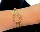Bracelet Necklace-Bracelet with Monogrammed Charm-Necklace-Bracelet-Initial Charm Jewelry-Personalized Charm-Womens Jewelry-Free Shipping