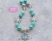 Elsa Frozen Necklace Snowflake Sisters Disney Princess Inspired  Chunky Bubblegum Necklace Girl Bubble Gum