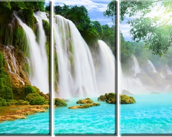 Framed Huge 3-Panel Mountain Cliff Waterfall Canvas Art Print - Ready to Hang