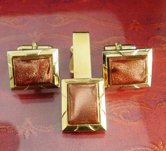 Vintage Wedding Cufflink Set Exquisite Hayward Tie Clip Red Goldstone Vitality And Energy Mens