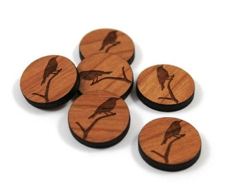 Laser Cut Supplies-8 Pieces.Wren Charms - Laser Cut Wood Wren -Earring Supplies- Little Laser Lab Sustainable Wood Products