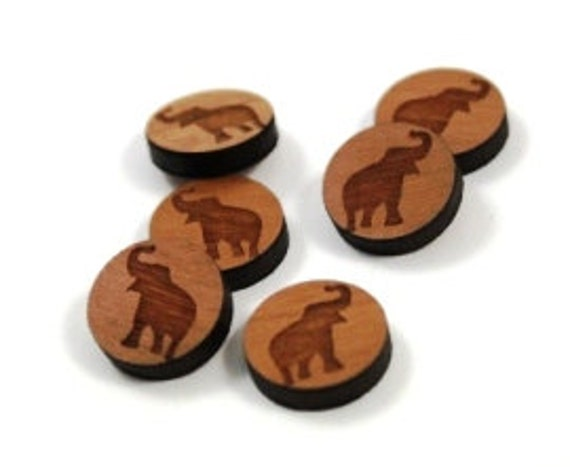 Laser Cut Supplies- 8 Pieces.Elephant Disc Charms - Laser Cut Wood -Earring Supplies- Little Laser Lab Sustainable Wood Products