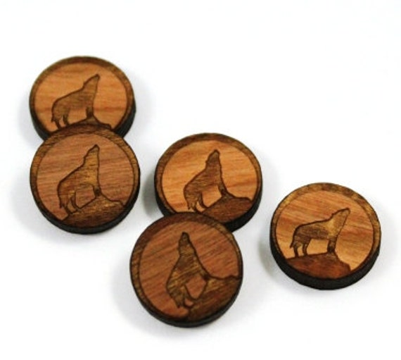 Laser Cut Supplies-8 Pieces.Wolf Halloween Charms-Cherry Wood Laser Cut Wolf -Earring Supplies-  Little Laser Lab Sustainable Wood Products