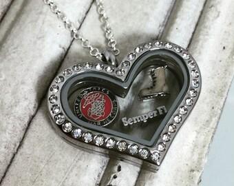 Stainless Steel USMC Floating Locket | Marine Corps Floating Locket | USMC Wife, Mom, Girlfriend Jewelry | Marine Corps Jewelry | Semper Fi