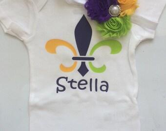 Baby Mardi Gra outfit- toddler Mardi Gra- Mardi Gra Headband- mardi gra shirt - mardi gra baby- Headband and bodysuit ONLY