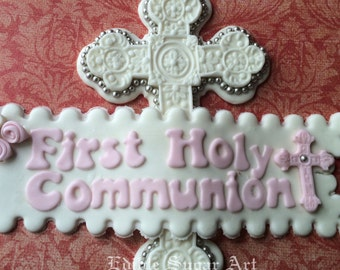 FIRST HOLY COMMUNION Cake Topper Fondant Cross christening baptism communion caket