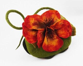 Felted Bag Flower Bag Nasturtium Bag Felted Handbag Flower Purse Nunofelt Felt Nuno felt floral fantasy shoulder bag Fiber Art boho