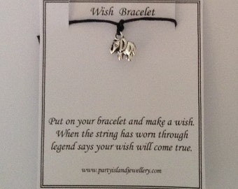 LUCKY ELEPHANT Charm Friendship Bracelet on Black Cord with Wish Message Card