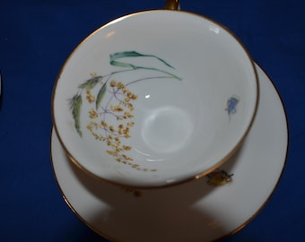 One Vintage Teacup and Saucer  by Heinrich and Co. Bavaria Germany