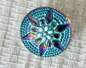 Turquoise and Purple Star Czech Glass Button - Art Bead - 18mm - 1390