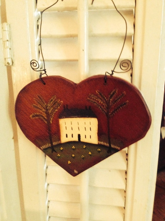 Saltbox House Heart Cupboard Plaque Vintage Look Handcrafted and Hand Painted