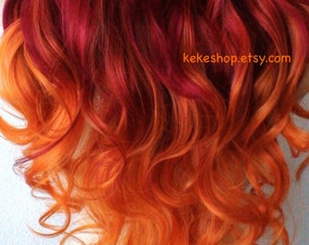 Wig. Pastel Wine red / Orange Ombre Long curly hairstyle long side bangs wig. Quality heat resistant wig for daytime use or Cosplay.
