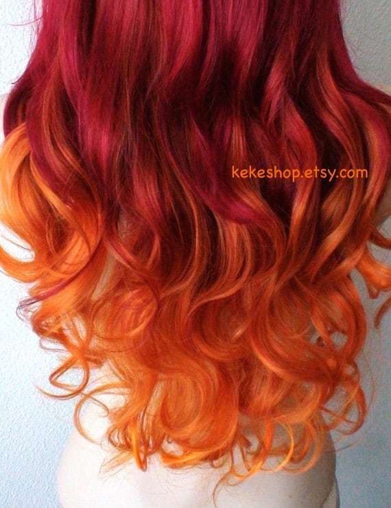 wig pastel wine red orange ombre long curly hairstyle long