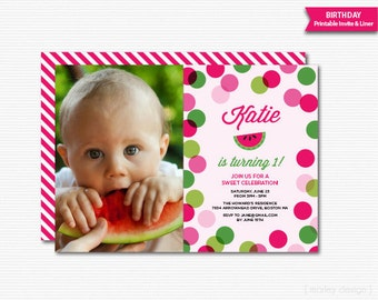 Watermelon Party Invitation 1st Birthday First Birthday Invitation Summer Party Printable Digital Invite Girls Birthday Melon Invitation Dot
