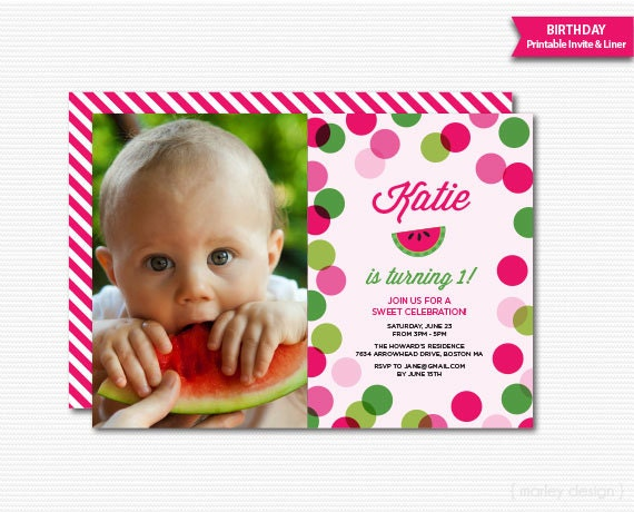 Watermelon Party Invitation St Birthday First Birthday Invitation - Digital first birthday invitation
