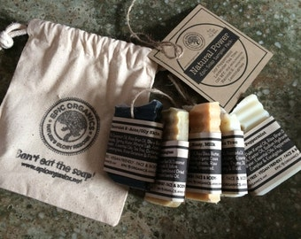 Natural Power - Natural Soap Sampler-Travel Soap-Cotton Bag Included-Gift-Essential Oils-