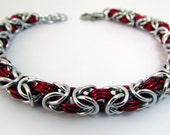 Red and Silver Bracelet  – Byzantine Weave Chainmaille Bracelet – Handmade Chainmail for Men and Women