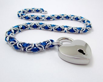 Collar in Blue and Silver with Heart Padlock - Handmade Slave Day Collar - Byzantine Chainmaille Animal Kitten Pup Furry Play