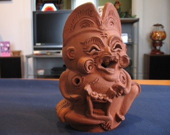 SALE Unglazed Terracotta Balinese Candle Holder