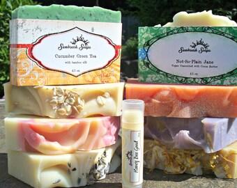 8 Handmade Soap Bars + 1 Lip Balm for Fourty Dollars!